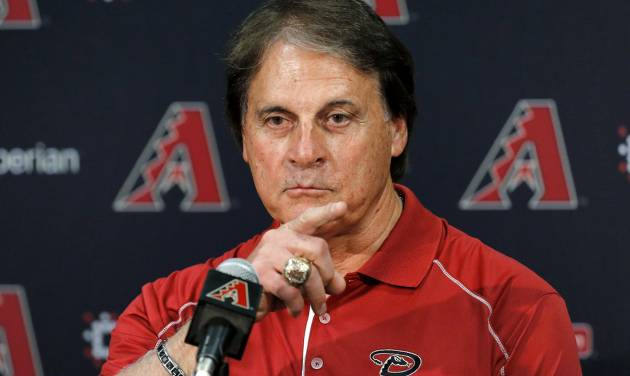 Tony La Russa, newly hired as chief baseball officer for the Arizona Diamondbacks, speaks to reporters after being introduced Saturday, May 17, 2014, in Phoenix. (AP Photo/Matt York)