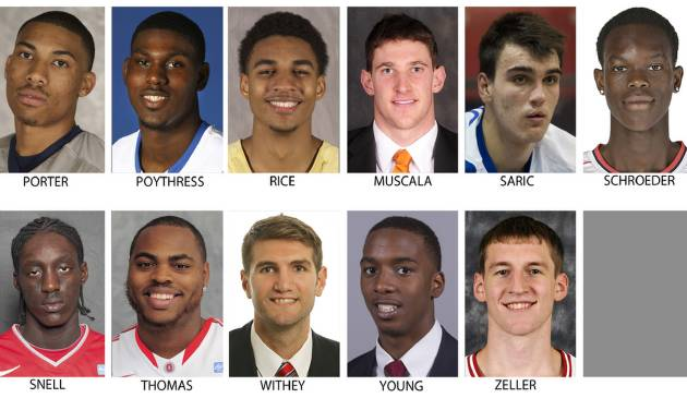These recent images provided by their respective schools or team show possible prospects in the 2013 NBA Draft. Top row from left are Otto Porter, Georgetown; Alex Poythress, Kentucky; Glen Rice, Georgia Tech; Mike Muscala, Bucknell, Dario Saric, Cibona Zagreb and Dennis Schroeder, Braunschweig. Bottom from left are Tony Snell, New Mexico; Deshaun Thomas, Ohio State; Jeff Withey, Kansas; B.J. Young, Arkansas and Cody Zeller, Indiana.  The Draft takes place June 27, 2013 in New York. (AP Photo)