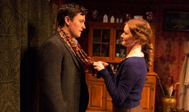 "This publicity photo released by David Gersten & Associates shows Jon Fletcher, left, and Wrenn Schmidt, in a scene from ""Katie Roche,"" currently performing off-Broadway at the Mint Theater in New York.  AP Photo/David Gersten & Associates, Richard Termine)"