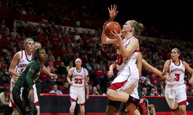 Nebraska's Lindsey Moore (00) drives to the basket during the first half of their NCAA college basketball game against Michigan State, Thursday, Jan. 24, 2013, in Lincoln, Neb. Nebraska won 59-54. (AP Photo/The World-Herald, Mark Davis) MAGS OUT; ALL NEBRASKA LOCAL BROADCAST TV OUT