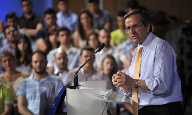 Antonis Samaras, leader of the conservative New Democracy party, speaks during an election rally in the northern Greek city of Thessaloniki, on Thursday, June 14, 2012. Greece holds crucial new national elections on Sunday June 17, that could ultimately determine whether the deeply-indebted, recession bound country remains within the eurozone. First elections on May 6 resulted in a hung parliament.(AP Photo/Nikolas Giakoumidis)