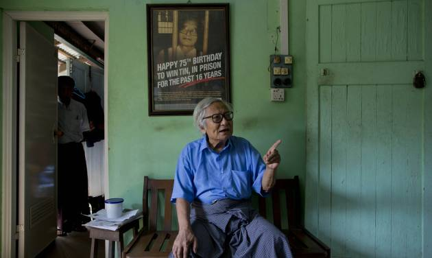 In this March 14, 2013 photo, 83-year old veteran journalist Win Tin, former political prisoner, who spent 19-years in prison, recipient of UNESCO/Guillermo Cano World Press Freedom Prize and World Association of Newspapers' Golden Pen of Freedom Award speaks in an interview  in Yangon, Myanmar.  Win Tin said the proposed media law would inevitably lead to self-censorship.  Myanmar journalists just getting used to their new era of freedom howled when the government announced plans for a media law that could lock many old restrictions back into place. Then, in the latest of many moves that never would have happened under the country's old military rulers, the government backed off. (AP Photo/Gemunu Amarasinghe)