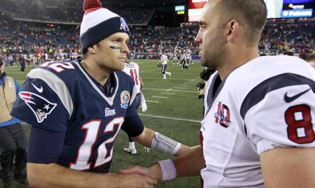 New England Patriots quarterback Tom Brady (12) shakes hands with Houston Texans quarterback Matt Schaub (8) following an NFL football game in Foxborough, Mass., Monday, Dec. 10, 2012. The Patriots won 42-14. (AP Photo/Steven Senne)