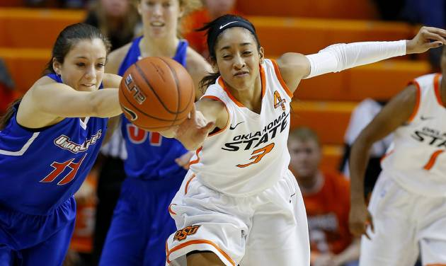 OSU's Tiffany Bias (3), pictured here against UMass on Nov. 26, had a season-high 23 points in the No. 11 Cowgirls' 67-61 win over Texas in their Big 12 opener Thursday. Photo by Bryan Terry, The Oklahoman