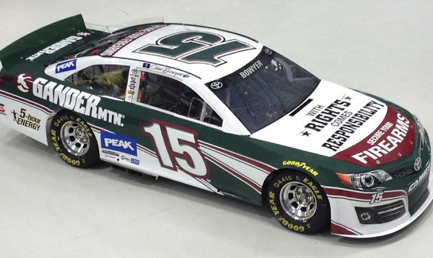"In this undated image released by Gander Mountain Co., on Wednesday, April 3, 2013, NASCAR driver Clint Bowyer's car is shown with a new paint scheme and sponsorship. Gander Mountain Co. said Wednesday, it will sponsor the car in the April 13, NASCAR Sprint Cup NRA 500 auto race in Texas. The paint scheme will include the words: ""With Rights Comes Responsibility; Secure Your Firearms."" (AP Photo/Gander Mountain Co.)"