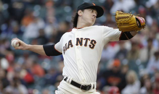 San Francisco Giants starting pitcher Tim Lincecum throws against the St. Louis Cardinals in the first inning of a baseball game Tuesday, July 1, 2014, in San Francisco. (AP Photo/Eric Risberg)