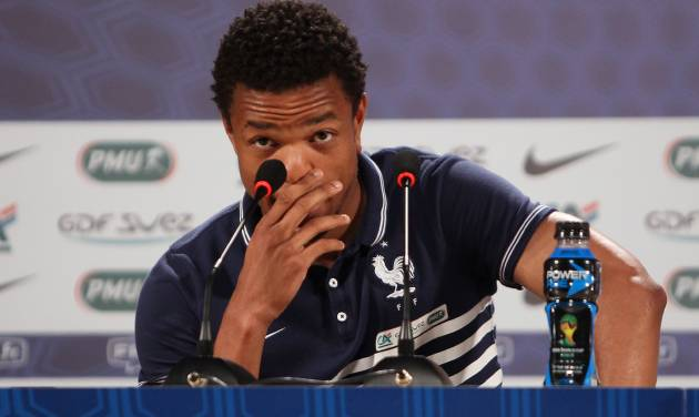 France's player Loic Remy attends a press conference in Ribeirao Preto, Brazil, Friday, June 13, 2014. France is in group E at the World Cup soccer tournament and plays its first match Sunday. (AP Photo/David Vincent)