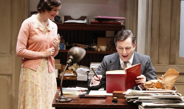 """This undated theater image released by 59E59 Theaters shows Emily Barber, left, and Alan Cox in a scene from J.B. Priestley's """"Cornelius"""", currently performing as part of Brits Off Broadway at 59E59 Theaters in New York. (AP Photo/59E59 Theaters, Carol Rosegg)"""