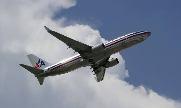This Monday, Aug. 20, 2012 photo, shows an American Airlines aircraft taking off at Miami International Airport in Miami. American Airlines and American Eagle announed Thursday, Sept. 20, 2012 they will cancel 300 flights this week to cope with a high number of pilots reporting sick and an increase in maintenance reports filed by crews. (AP Photo/Alan Diaz)