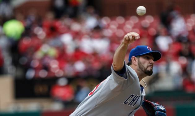 Chicago Cubs starting pitcher Jason Hammel delivers a pitch to a St. Louis Cardinals batter during the first inning of a baseball game Thursday, May 15, 2014, in St. Louis. (AP Photo/Sarah Conard)