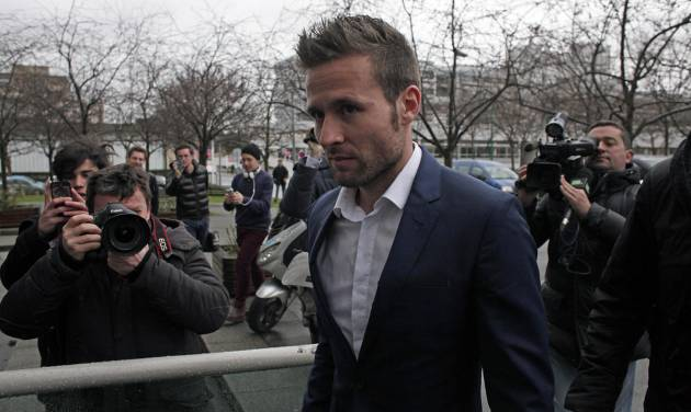 Newcastle United midfielder Yohan Cabaye arrives for a medical check at a Paris hospital before joining Paris Saint-Germain (PSG) soccer club, Wednesday, Jan. 29, 2014. Cabaye was set for a medical in France after PSG and Newcastle agreed a 20-million-pound (33-million-dollar) fee on Monday night, it was reported. (AP Photo/Thibault Camus)