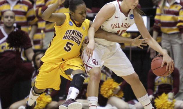 Central Michigan's Jalisa Olive, left, tries to steal the ball from Oklahoma's Morgan Hook during the first half of a first-round game in the women's NCAA college basketball tournament Saturday, March 23, 2013, in Columbus, Ohio. (AP Photo/Jay LaPrete) ORG XMIT: OHJL104