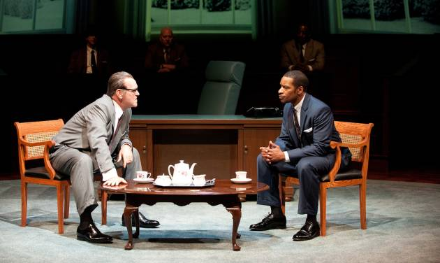 "This theater image released by Columbia University shows Jack Willis as Lyndon Johnson, left, and Kenajuan Bentley as the Rev. Martin Luther King Jr. in a scene from ""All The Way"" by Robert Schenkkan. Schenkkan's ""All the Way"" have been named the inaugural winners of a theater award honoring the late Sen. Edward Kennedy. Columbia University on Friday said both playwrights will get the award as well as $100,000 each, one of the largest prizes given for dramatic writing. (AP Photo/Columbia University, Jenny Graham)"
