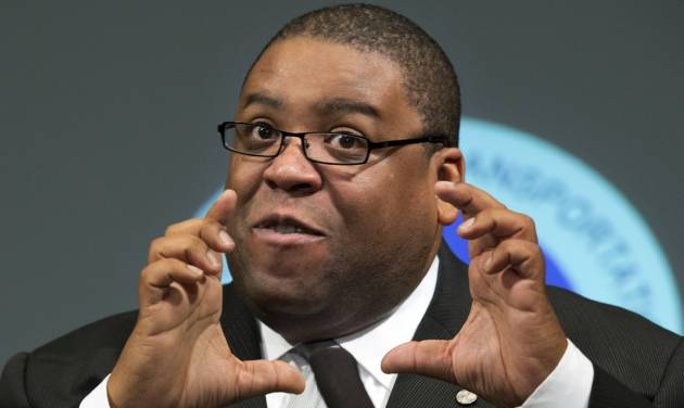 NHTSA Administrator David Strickland gestures during a news conference at the Transportation Department in Washington Wednesday, Oct. 10, 2012, to provide consumer safety information regarding counterfeit airbags and what federal officials are doing to address the issue. (AP Photo/Manuel Balce Ceneta)