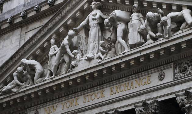 FILE - This Aug. 19, 2013 file photo shows the New York Stock Exchange in New York.  European stock markets turned lower on Friday, Aug. 22, 2014, while Wall Street was expected to open flat, amid concerns of an escalation in the Ukrainian crisis after a Russian aid convoy entered the country. (AP Photo/Mark Lennihan, File)