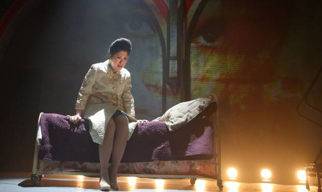 """This undated theater image released by The Public Theater shows Ruthie Ann Miles during a performance of """"Here Lies Love,"""" in New York. (AP Photo/The Public Theater, Joan Marcus)"""
