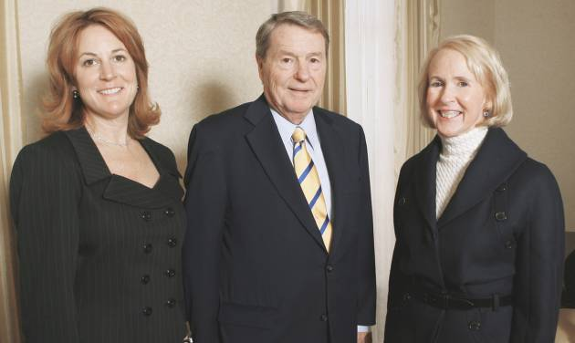 Louise Bennett, left, and Christy Everest, both members of the Gaylord family, visit with broadcast journalist Jim Lehrer on Monday at a luncheon at the Skirvin Hotel. Lehrer was honored with the inaugural Gaylord Prize for Excellence in Journalism and Mass Communication. PHOTO BY PAUL B. SOUTHERLAND, THE OKLAHOMAN