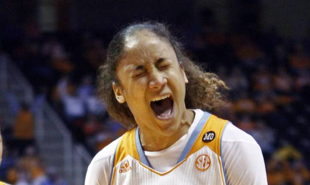 Tennessee guard Meighan Simmons (10) reacts to a play in the second half of an NCAA college basketball game against Vanderbilt, Monday, Feb. 10, 2014, in Knoxville, Tenn. Tennessee won 81-53. (AP Photo/Wade Payne)