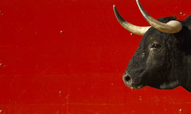"""A bull is seen in the arena during a bullfight of the San Fermin festival, in Pamplona, Spain, Wednesday, July 9, 2014. Revelers from around the world arrive in Pamplona every year to take part on some of the eight days of the running of the bulls glorified by Ernest Hemingway's 1926 novel """"The Sun Also Rises."""" (AP Photo/Daniel Ochoa de Olza)"""