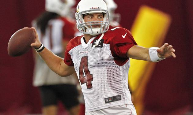 Arizona Cardinals quarterback Kevin Kolb (4) throws during NFL football practice on Thursday, Sept. 13, 2012, at Arizona State University in Tempe, Ariz. The Cardinals are to face the New England Patriots on Sunday. (AP Photo/Matt York)