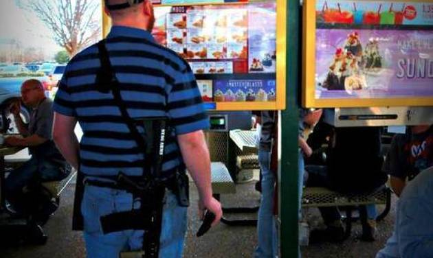 Gun rights advocates brought firearms to a Texas Sonic Drive In at a recent demonstration.  Photo provided by Moms Demand Action for Gun Sense in America     -  Moms Demand Action for Gun Sense in America