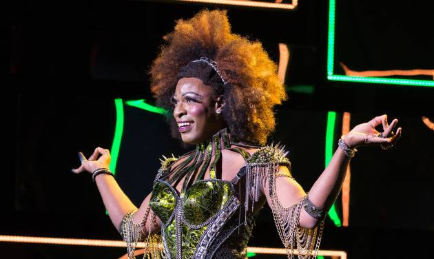 """This image released by The O+M Company shows Kyle Taylor Parker during a performance of  the musical, """"Kinky Boots."""" Parker will star in the first national tour of """"Kinky Boots,""""  kicking off in Las Vegas on Sept. 4. (AP Photo/The O+M Co., Matthew Murphy)"""