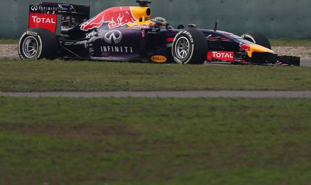 Red Bull Racing driver Sebastian Vettel of Germany drives during the Chinese Formula One Grand Prix at Shanghai International Circuit in Shanghai, Sunday, April 20, 2014. (AP Photo/Eugene Hoshiko)