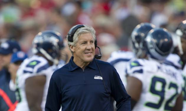 Seattle Seahawks coach Pete Carroll during the game against the San Francisco 49ers on Oct. 18, 2012 at Candlestick Park in San Francisco, Calif. The 49ers won 13-6. (AP Photo/The Sacramento Bee, Paul Kitagaki Jr.) MAGS OUT; LOCAL TV OUT (KCRA3, KXTV10, KOVR13, KUVS19, KMAZ31, KTXL40); MANDATORY CREDIT