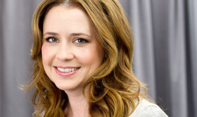 """In this April 24, 2012 photo, actress Jenna Fischer poses for a portrait in New York. In her latest project, a romantic comedy called """"The Giant Mechanical Man,"""" Fischer's character Janice is a down on her luck, single woman who can't seem to get her life together. She ends up falling for a street performer played by Chris Messina. (AP Photo/Charles Sykes)"""