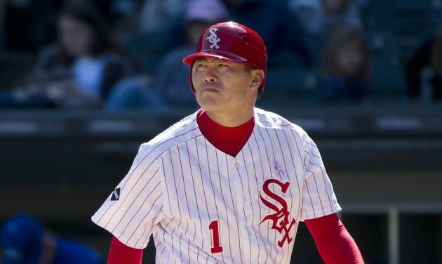 Chicago White Sox's Kosuke Fukudome, of Japan, walks back to the dugout after striking out during the eighth inning of a baseball game against the Kansas City Royals, Sunday, May 13, 2012 in Chicago. The Royals won 9-1. (AP Photo/Brian Kersey)