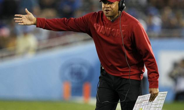 Stanford head coach David Shaw, from the sidelines, talks to an official during the second quarter of an NCAA college football game against UCLA, Saturday, Nov. 24, 2012, in Pasadena, Calif. (AP Photo/Alex Gallardo)