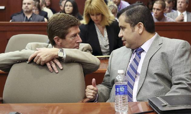 George Zimmerman, right, speaks with defense attorney Mark O'Mara during his trial in Seminole circuit court in Sanford, Fla. Thursday, June 27, 2013. Zimmerman has been charged with second-degree murder for the 2012 shooting death of Trayvon Martin. (AP Photo/Orlando Sentinel, Jacob Langston, Pool)