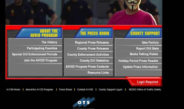 CORRECTS SOURCE AND DESCRIPTION -This screen shot taken from californiaavoaid.org, an organization sponsored by Bay Area Rapid Transit (BART), shows a page from the website after it and other BART-related sites were hacked by the hacker's group Anonymous on Sunday, Aug. 14, 2011. BART district officials said they were attempting Sunday to shut down the hacker's group website that lists the names of thousands of San Francisco Bay area residents who are email subscribers of myBART.org, a legitimate BART website. (AP Photo/californiaavoaid.org)