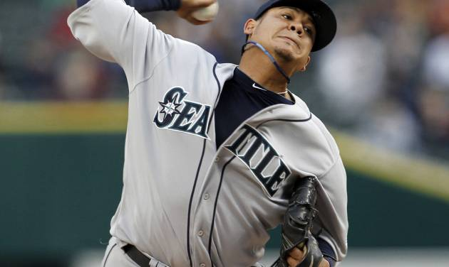 Seattle Mariners pitcher Felix Hernandez throws against the Detroit Tigers in the first inning of a baseball game, Wednesday, April 25, 2012, in Detroit. (AP Photo/Paul Sancya)