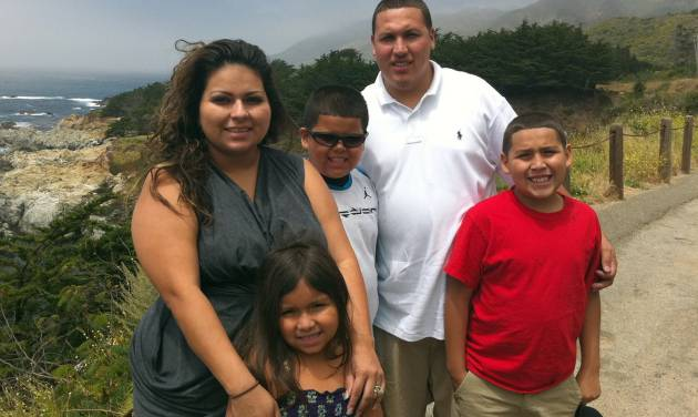 This undated photo provide by the Barajas family shows from left, Cindy Barajas, Jenessah Barajas, Caleb Barajas, David Barajas and David Barajas Jr. Caleb and David Jr. were killed during a Dec. 7, 2012, accident near their home in Alvin, Texas, as the boys and their father were pushing their truck on a rural road after it had broken down. Authorities say 20-year-old Jose Banda was intoxicated when he slammed his vehicle into the truck, killing the brothers. The boys' father was charged with fatally shooting Banda minutes after the accident. His trial is set to begin Monday, Aug 18.  (AP Photo/Courtesy Barajas Family)
