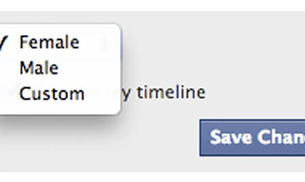 This screen shot released by Facebook shows the new gender option screen. Facebook is adding a customizable option with about 50 different terms people can use to identify their gender as well as three preferred pronoun choices: him, her or them. Facebook said the changes being rolled out Thursday, Feb. 13, 2014, for the company's 159 million monthly users in the U.S. are aimed at giving gender nonconforming people the opportunity to be transparent about who they really are, whether that's androgynous, bi-gender, intersex, gender fluid or transsexual. (AP Photo/Facebook)