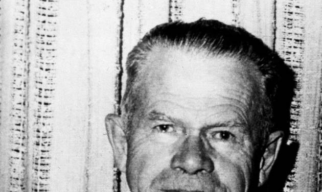 """FILE - This March 1977 file photo shows Harold McCluskey in Kennewick, Wash. In 1976, an explosion in a room at the Hanford Nuclear Reservation exposed him to a massive dose of radiation, leading to his nickname as the """"Atomic Man."""" McCluskey lived for 11 more years and died of causes not related to the accident. In 2014, preparations are underway for a September 2016 demolition of the plant. (AP Photo)"""