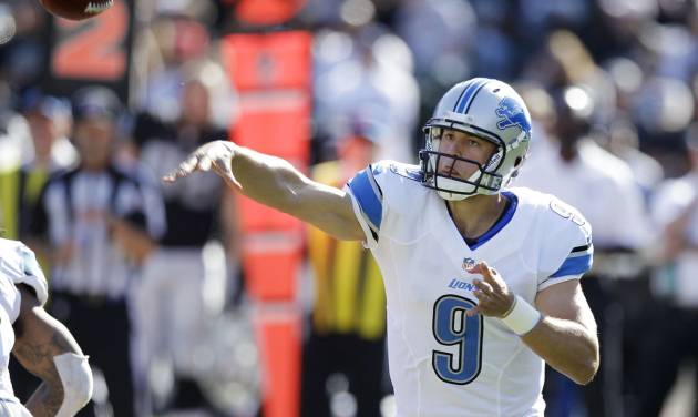Detroit Lions quarterback Matthew Stafford (9) throws against the Oakland Raiders during a preseason NFL football game in Oakland, Calif., Saturday, Aug. 25, 2012. (AP Photo/Ben Margot) ORG XMIT: OAS111
