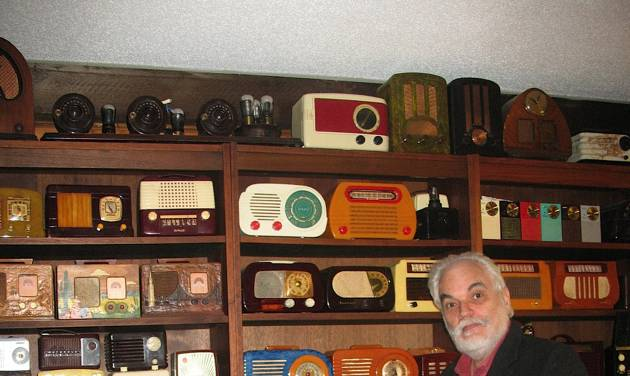 In this photo taken Monday, April 30, 2012, J. David Goldin, shows his radio collection in Sandy Hook, Conn. A federal judge in Maryland is set to sentence a former government employee for stealing thousands of recordings from the National Archive and selling many on eBay. The man who noticed the theft and helped capture the thief is a retired radio engineer from Connecticut, J. David Goldin. Goldin spotted on eBay a record he'd donated to the archive in the 1970s, setting off an investigation. (AP Photo/Jessica Anne Gresko) Thank you, Jessica