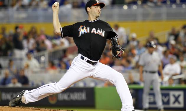 Miami Marlins pitcher Jacob Turner throws against the Milwaukee Brewers in the fourth inning of a baseball game in Miami, Saturday, May 24, 2014. (AP Photo/Joe Skipper)