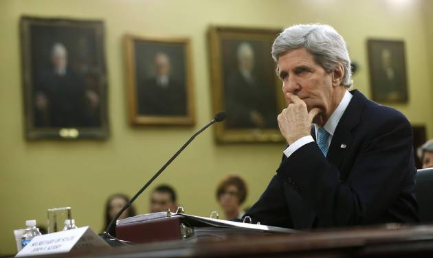 Secretary of State John Kerry pauses while testifying on Capitol Hill in Washington, Wednesday, March 12, 2014, before the House Appropriations subcommittee on State, Foreign Operations, and Related Programs Budget hearing.  Kerry sais he will travel to London to meet Russian Foreign Minister Sergey Lavrov on Friday in a last-ditch bid to avert a new crisis over Ukraine.  (AP Photo/Charles Dharapak)
