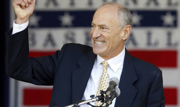 Texas Rangers broadcaster Eric Nadel speaks after receiving the Ford. C. Frick Award during a ceremony at Doubleday Field on Saturday, July 26, 2014, in Cooperstown, N.Y.  (AP Photo/Mike Groll)