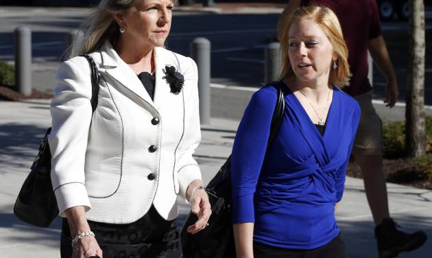 Former Virginia first lady Maureen McDonnell, left, and her daughter Cailin Young arrive at federal court, Wednesday, Aug. 27, 2014, in Richmond, Va.  The defense in her corruption case is expected to rest today. McDonnell and his husband Bob, the former Virginia Governor, are charged with accepting more than $165,000 in gifts and loans from former Star Scientific Inc. CEO Jonnie Williams in exchange for promoting his company's dietary supplements.  (AP Photo/Steve Helber)