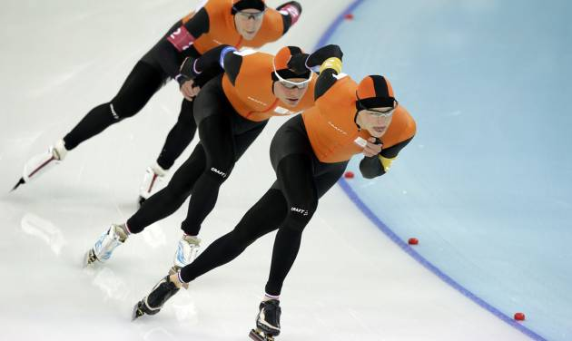 Speedskaters from the Netherlands, front to back, Sven Kramer, Koen Verweij, and Jan Blokhuijsen compete in the men's speedskating team pursuit semifinal race at the Adler Arena Skating Center at the 2014 Winter Olympics, Friday, Feb. 21, 2014, in Sochi, Russia. (AP Photo/Matt Dunham)