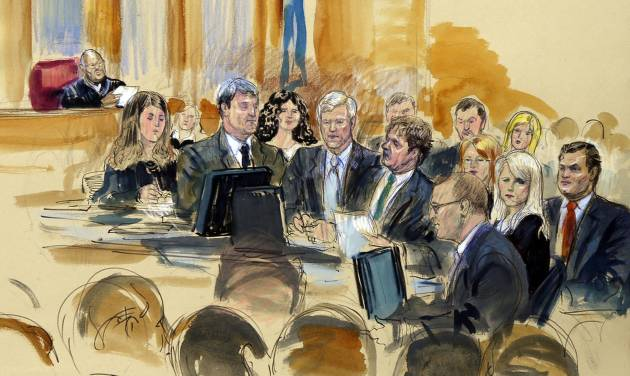 """In this courtroom sketch at the federal corruption trial of former Virginia Governor Robert F. McDonnell, center, and his wife, former first lady Maureen McDonnell, second from right, Judge James R. Spencer, left, presides during jury selection Monday, July 28, 2014, in Richmond, Va. Bob and Maureen McDonnell are charged in a 14-count indictment with accepting more than $165,000 in gifts and loans from the CEO of a dietary supplements company in exchange for helping promote his products. The defense team is gathered at a courtroom table and includes Victoria Taraktchian, John L. Brownlee, Robert McDonnell, Henry W. """"Hank"""" Asbill, Marjorie Fargo, Maureen McDonnell, and William """"Bill"""" Burck at left. Foreground figure, third from right, is Stephen Hauss.  (AP Photo/Dana Verkouteren)"""