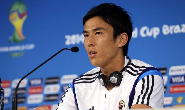 Japan's Makoto Hasebe speaks during a press conference at the Arena Pantanal in Cuiaba, Brazil, Monday, June 23, 2014.  Japan play in group C of the 2014 soccer World Cup. (AP Photo/Shuji Kajiyama)