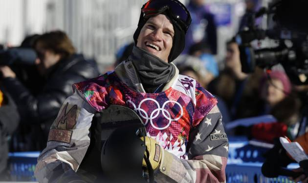United States' Charles Guldemond waits for his score after a run during men's snowboard slopestyle qualifying at the Rosa Khutor Extreme Park ahead of the 2014 Winter Olympics, Thursday, Feb. 6, 2014, in Krasnaya Polyana, Russia. (AP Photo/Andy Wong)