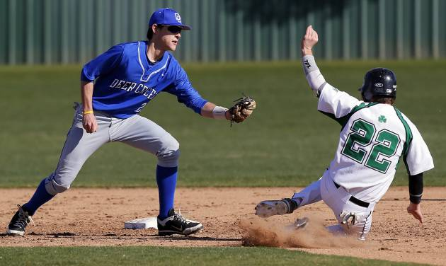 Left: Bishop McGuinness' Bradley Fritch is caught stealing second base by Deer Creek's Jordan Boyer during a baseball game at Bishop McGuinness in Oklahoma City.  Photo by Nate Billings,  The Oklahoman