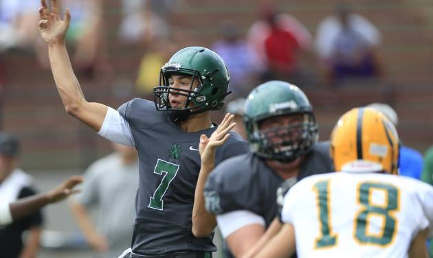 Norman North's John Kolar throws the ball during a scrimmage at Mustang High School in Mustang, Okla., Thursday, Aug. 28, 2014. Photo by Sarah Phipps, The Oklahoman
