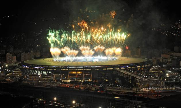 A fireworks display is seen over the Maracana stadium after the soccer World Cup final match between Argentina and Germany, in Rio de Janeiro, Brazil, Sunday, July 13, 2014. Mario Goetze volleyed in the winning goal in extra time to give Germany its fourth World Cup title with a 1-0 victory over Argentina. (AP Photo/Adriana Lorete-Agencia o Globo)